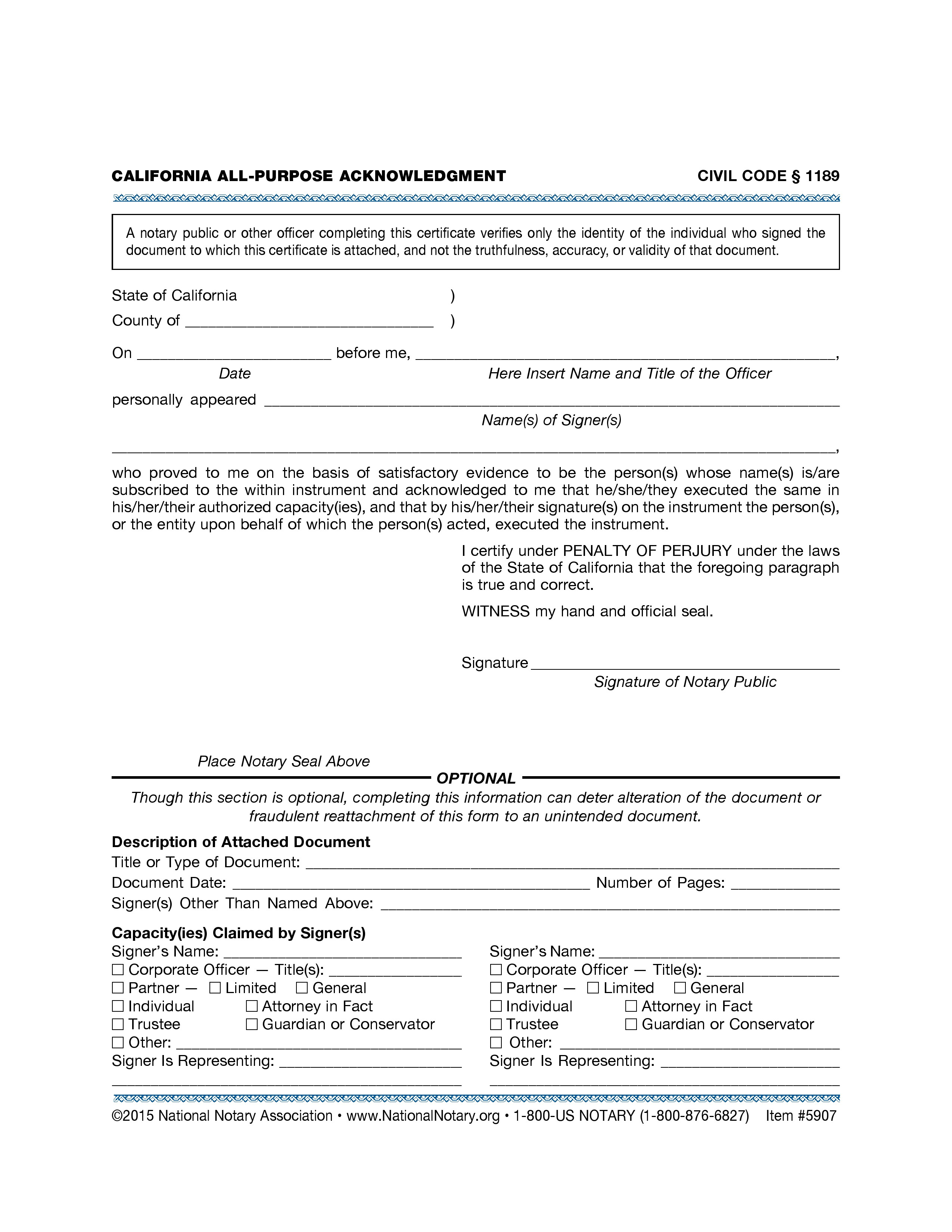 California All Purpose Acknowledgement Form – Notary Public Near Me