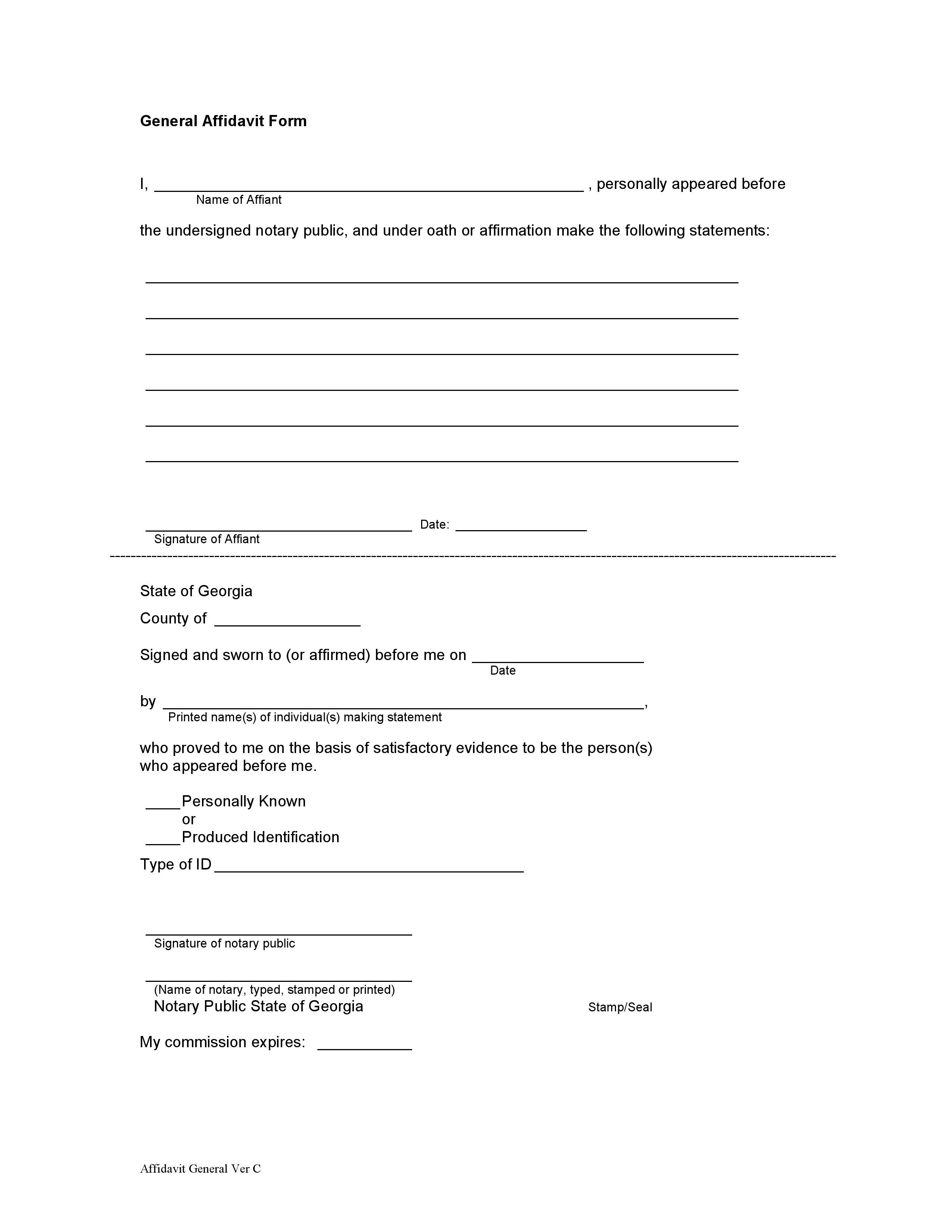 Georgia General Affidavit Form with Notary Public – Notary