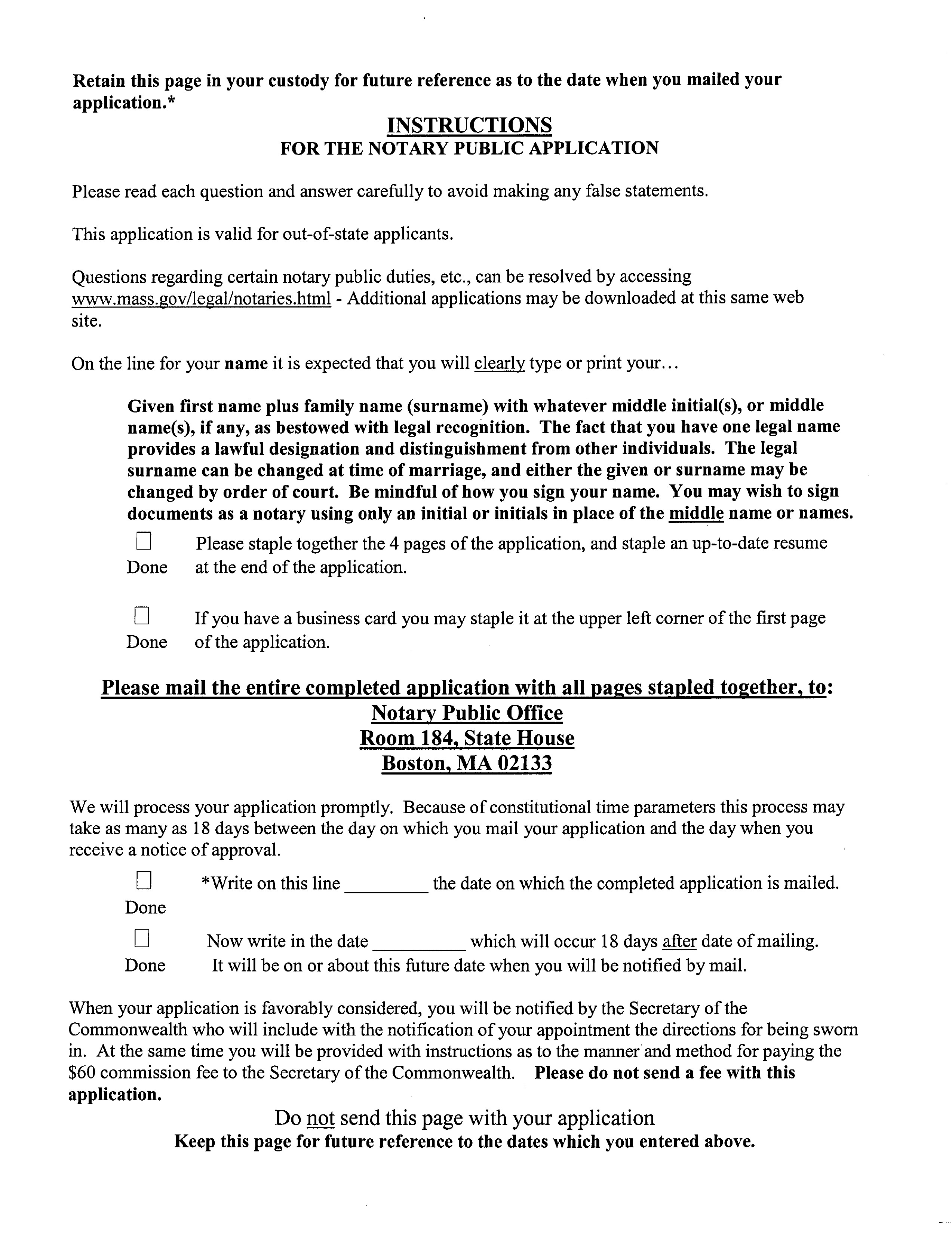 Massachusetts Notary Public Application Form